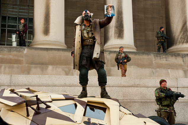 gq:  gqfashion:  Style Breakdown: The Dark Knight Rises Leading up to The Dark Knight Rises, we realized early on that the Batman villain was a sartorial superhero, decked out in—we hypothesized—an Ermenegildo Zegna shearling coat, plus a waxed BelstaffRoadmaster jacket. So to further investigate, we called up costume designer Lindy Hemming, whose work spans Christopher Nolan's Batman trilogy, and quizzed her on Bane as well as the rest of the cast.  Who knew Gotham's reckoning would be so well-dressed?