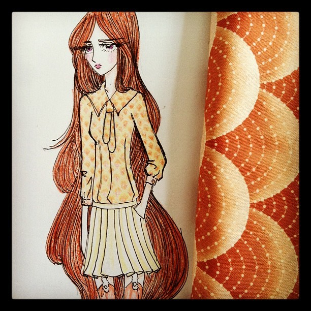 Working on some designs today ☺ #fashion #instafashion #illustration #fashionillustration #drawing #cute #kawaii #lolita #schoolgirl #color #peach #anime #manga #japanese  (Taken with Instagram)
