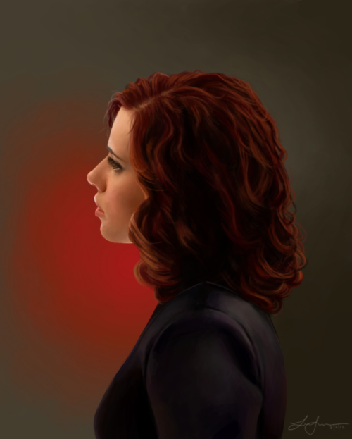 thetuxedos:  Painting of Natasha Romanoff. If I could only describe how hard it was to do her hair. Drawn in several hours.