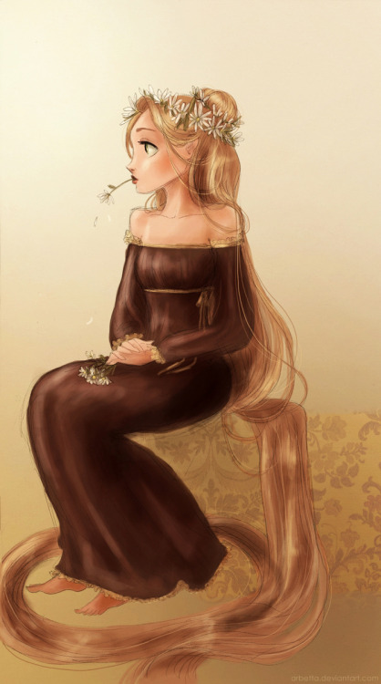 twogranniesandanaxe:  Rapunzel with the daisies, coloured! :D