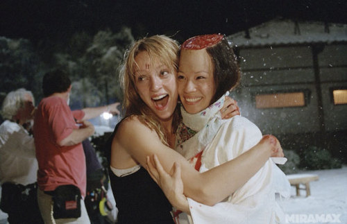 emptyfrdge:  Kill Bill Vol. 1 (Behind the Scenes)  Uma Thurman and Lucy Liu  (c) Miramax
