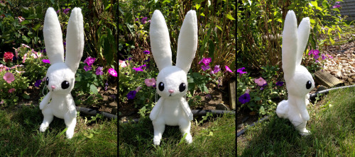 "nakioutsuno:  My frist stuffed animal, and it's Angel Bunny from My Little Pony! He's made to be carried while I'm wearing my Fluttershy costume, so his legs 'dangle'. He's 17"" from tips of toes to tips of ears, and is super fluffy and soft. He's got whiskers too! They're made from embroidery floss so that he remains very cuddly. I'm not sure if I'll make more of these guys to sell? I don't know if anyone would be interested. But I could! Many thanks to Midnight Cosplay and Taiora for helping me with this!  Awwww! i'm so happy how well this turned out! I did a skype session with her about the pattern! I hope to do something similar tonight with KH dream eaters!!! This girl is for realz talented. Stop being good at everything Naki! You're going to put me out of business!!!"