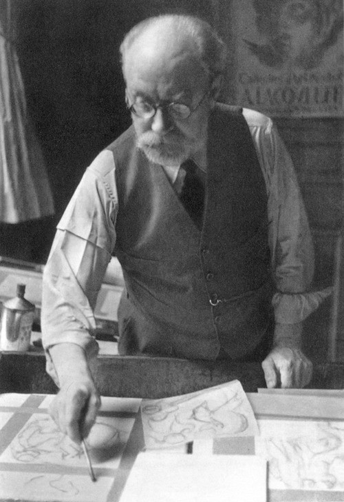 Matisse at work on an illustration for his book, Ulysses.