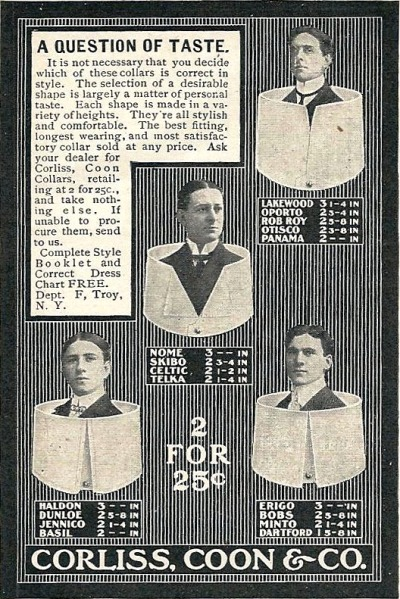 Corliss, Coon & Co. There is something amazing about detachable collar ads.
