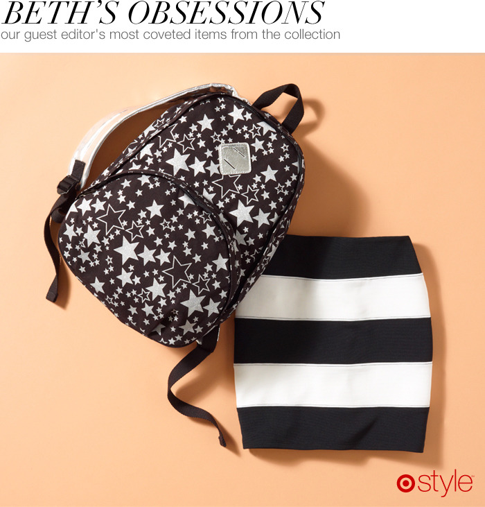 "Beth's Obsessions (Kirna Zabête) ""The backpack is something that my daughter or I can wear."" own it now: backpack. striped skirt."