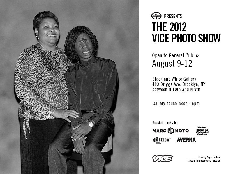 VICE is pleased to announce our 2012 Photo Issue exhibition. If you're a big ol' dummy and somehow missed the release of our accompanying Photo Issue, then here's the perfect way to correct that mistake. Mirroring the issue, the show features the work of such talented photographers as Roger Ballen, Nick Haymes, Jaimie Warren, Asger Carlsen, Philip Cheung, KK + TF, Yumiko Utsu, Synchrodogs, Gregory Halpern, Lele Saveri, Peter Sutherland, Hannah Whitaker, and many more. Pristine copies of the 2012 Photo Issue will also be available to pick up at the gallery. The show will be held at the Black and White Gallery at 483 Driggs Ave. in Williamsburg, from Thursday, August 9th, through Sunday, August 12th. Doors open to the public from noon to 6 PM daily. Special thanks to our sponsors for making this exhibition possible: Scion, 42 Below, Averna, Marc Moto, and We Must Remain the Wildhearted Outsiders.