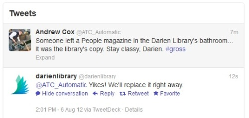 librarianpirate:  youtastelikenachos:  Service-y.  libraries - doing twitter right!  Just had a conversation with a coworker yesterday about how best to handle social media for the library. This is a terrific example. Succinct, sympathetic, responsive.