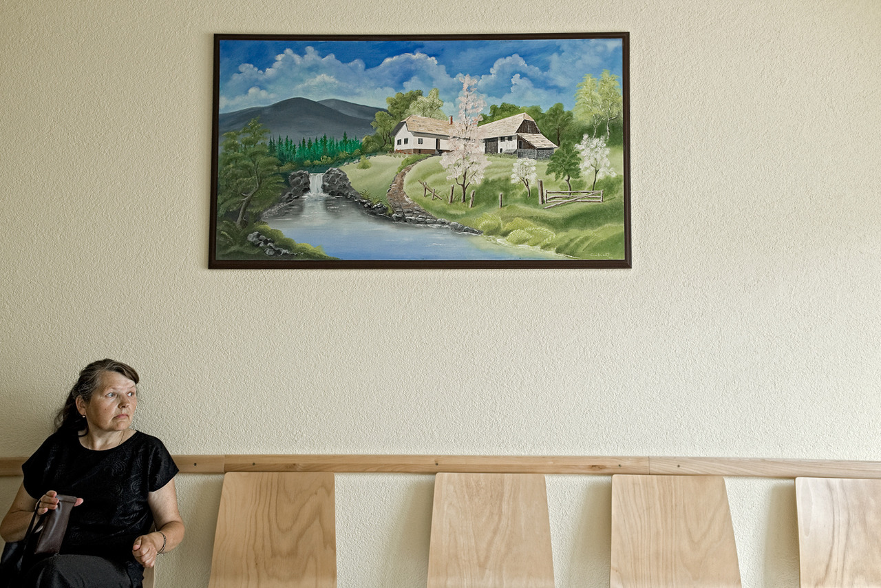 Woman waiting for a dentist visit.Detva,Slovakia.August 2012