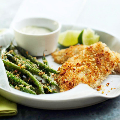 Daily Dish: Wasabi mayo makes a delicious dip for this panko-battered Fish and Green Beans.