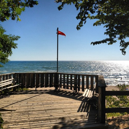 Red flag. No swimming. (Taken with Instagram at P.J. Hoffmaster State Park)