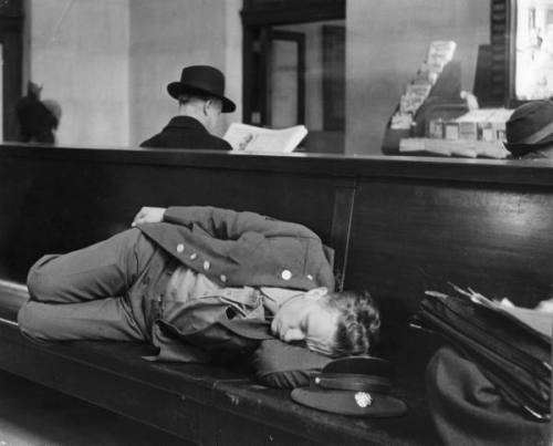 A soldier sleeping in the waiting room at Pennsylvania Station, NYC, 1943 -Alfred Eisenstaedt