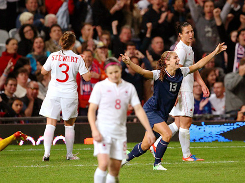 theolympics:  Alex Morgan celebrates her 123rd minute goal, sealing a 4-3 victory for the U.S. over Canada and sending them into the gold medal match against Japan.