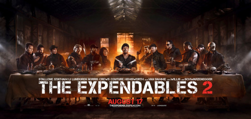 "This 'Last Supper'-style poster for ""The Expendables 2"" is fairly ridiculous but it's also ridiculously cool: http://www.cityonfire.com/expendables-2-date-confirmed/"