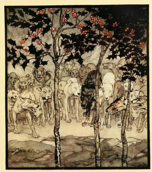 venusmilk:  Irish fairy tales (1920)Illustrations by Arthur Rackham They stood outside, filled with savagery and terror