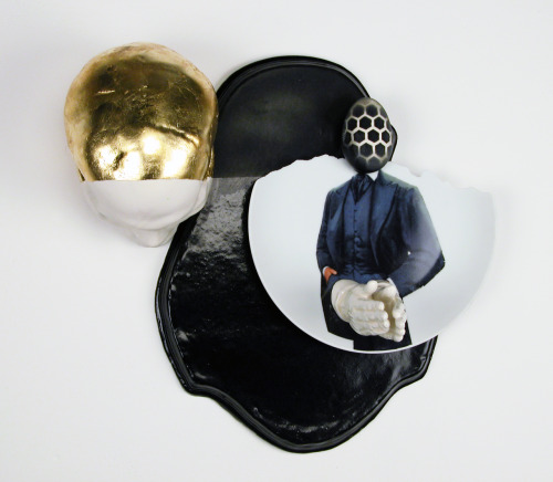 "Jason Hackett: Horizon, 2012, Ceramic, gold leaf, 15"" x 14"" x 6"""