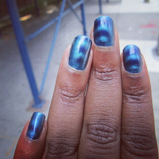 Todays nails: @SallyHansen Magnetic Nail Color in Indigo via @influenster #GetMagnetic (Taken with Instagram)