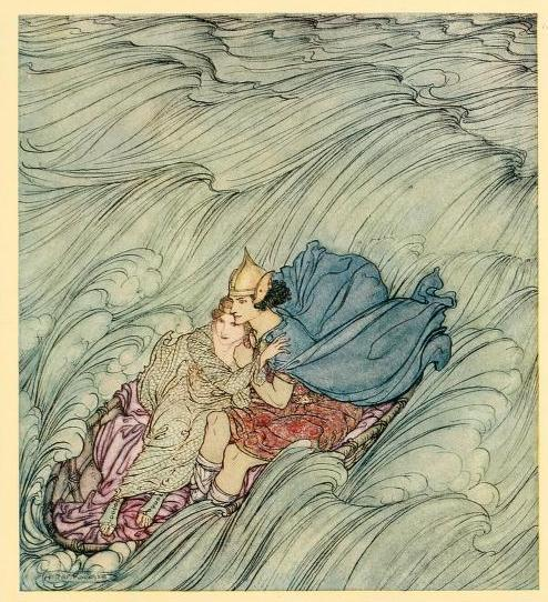 Irish fairy tales (1920) Illustrations by Arthur Rackham The waves of all the worlds seemed to whirl past them in one huge green cataract.