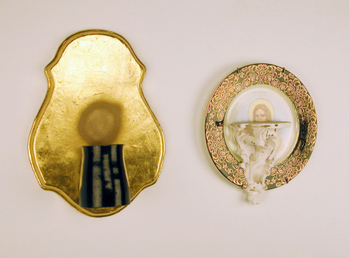 "Jason Hackett: Two Beards, 2012, Ceramic, gold leaf, 14"" x 24"" x 5"""
