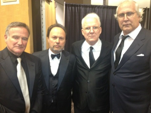 awesomepeoplehangingouttogether:  Robin Williams, Billy Crystal, Steve Martin and Chevy Chase  This is a real advert for middle-aged spread.