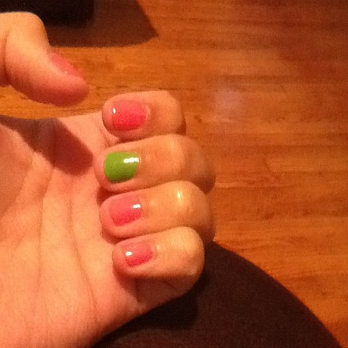 Paint ny nails hot pink a lime green (Taken with Instagram)