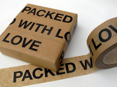 (via Sticky paper tape 'Packed with Love' - pipapur - Wrapping paper - Wrapping Paper & Co. - DaWanda)