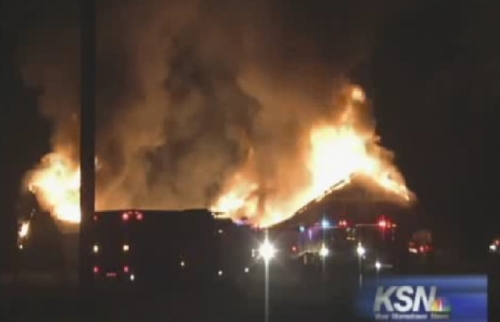 "Second fire completely destroys Islamic Center in Joplin, Missouri After an act of arson carried out on July 4, 2012 caused minor damage to the Islamic Society of Joplin Mosque, a second blaze started that began early Monday morning has leveled the religious building. While authorities have not yet determined the fire's cause, mosque leader Iman Lahmuddin has confirmed to local press that it did completely destroy the structure and everything inside. ""But since we are people of faith, we just can remember that this is a thing that happened because God let it happen,"" said Lahmuddin, continuing, ""and we have to be patient, particularly in the month of Ramadan, [to] control our emotions, our anger."" (Photo via KSN) source Follow ShortFormBlog: Tumblr, Twitter, Facebook"