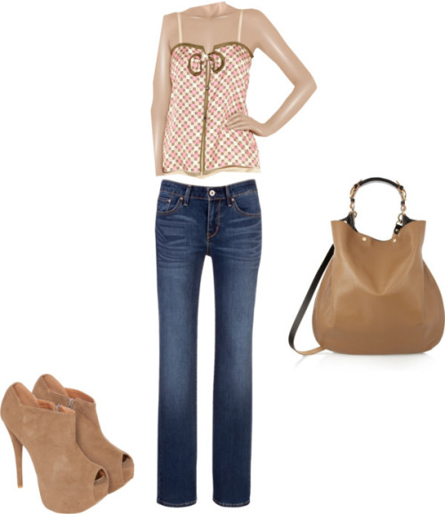 sweet&simple by lexanation-1 featuring straight jeansMarc Jacobs camisole top / Levi's straight jeans, $130 / Peep toe bootie, $78