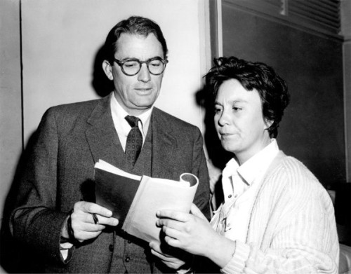 TO KILL A MOCKINGBIRD EXTREMELY RARE PHOTO OF AUTHOR HARPER LEE GOING OVER THE SCRIPT WITH GREGORY PECK.