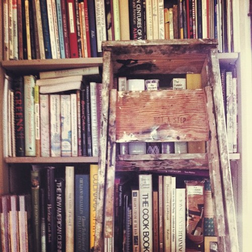 Painting Day : Not A Step #wetpaint #ladder #portland #oregon #bookcase #bookshelves #cookbooks #notastep (Taken with Instagram)