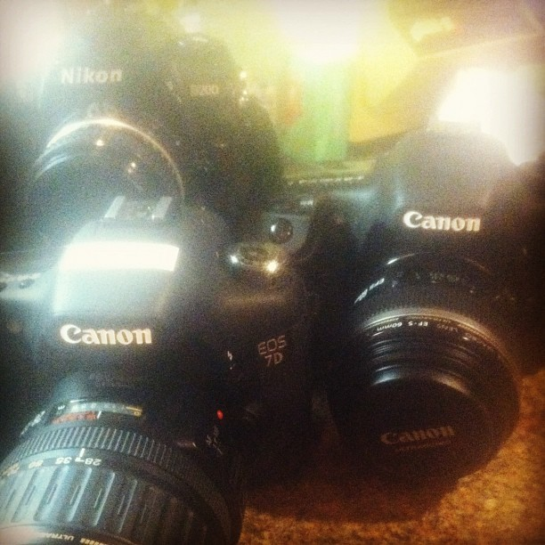 #self #cameras #dslr #canon #nikon4life #d200 #7D Tonight's materials. 2 Canon 7Ds. 60mm and 28-135mm. Nikon D200 with several lens options. (Taken with Instagram)