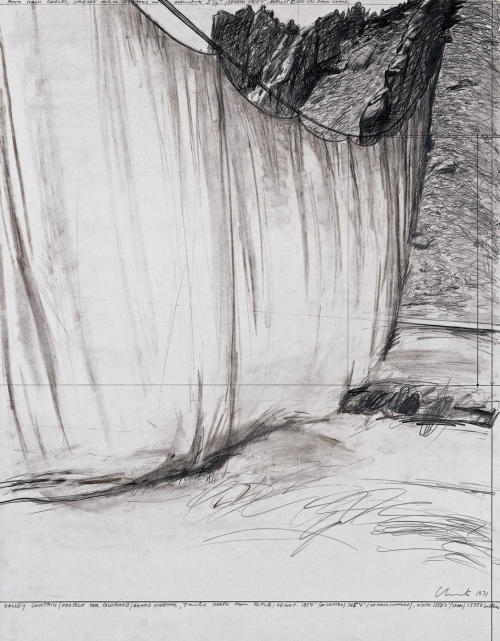 "Christo Valley Curtain (Project for Colorado) Drawing 1971 28 x 22"" (71 x 56 cm) Pencil and charcoal"
