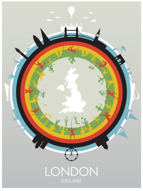 thekhooll:  Celebrate the London 2012 Olympic Games. Created by Dave Williams. The green ring displays all of the outdoor events, the yellow rings shows the indoor events, the red ring contains various athletic events, the black ring shows some of Londons iconic architecture whilst the white ring shows a few of the Olympic venues.