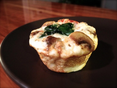 "Breakfast this week: Egg White Quiche ""Muffin"": egg whites, spinach, tomato, mushrooms, Applegate Natural Organic Pork Sausage. Yum!"