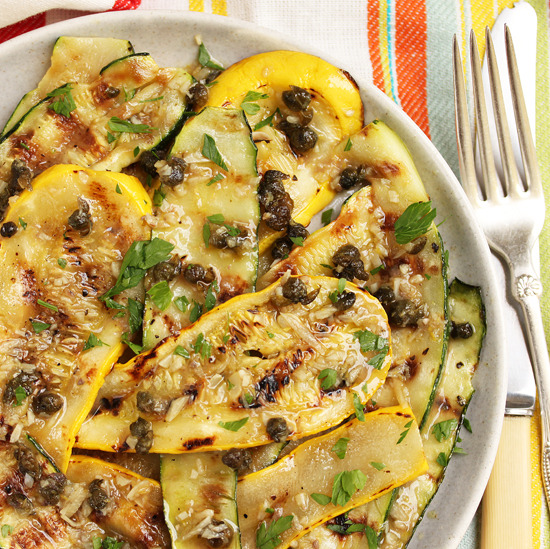 Grilled Zucchini and Anchovy Garlic Caper Sauce (recipe)