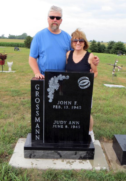 My uncle and aunt pose with the engraved-and-ready gravestone of my other uncle and aunt, who are retired in Florida. I think this is kind of tongue-in-cheek since John and Judy have been showing pics of the gravestone to everyone on their Androids, but it's still deeply (so to speak) weird.