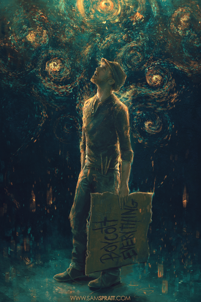 "samspratt:  ""Curious Night"" - Illustration by Sam Spratt Two tributes with one piece. Usually I don't like paragraphs paired with my work, but after little sleep working on this, I'm leaving this excerpt from Discover Magazine which says it better than I ever could:  ""The news these days is filled with polarization, with hate, with fear, with ignorance. But while these feelings are a part of us, and always will be, they neither dominate nor define us. Not if we don't let them. When we reach, when we explore, when we're curious – that's when we're at our best. We can learn about the world around us, the Universe around us. It doesn't divide us, or separate us, or create artificial and wholly made-up barriers between us. As we saw on Twitter, at New York Times Square where hundreds of people watched the landing live, and all over the world: science and exploration bind us together. Science makes the world a better place, and it makes us better people.It's what we can do, and what we must do."""
