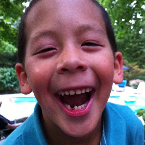 My nephew lost his first tooth!!!!!!! This is a big day. (Taken with Instagram)