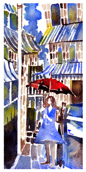 red umbrella watercolour doodle on arches R paper