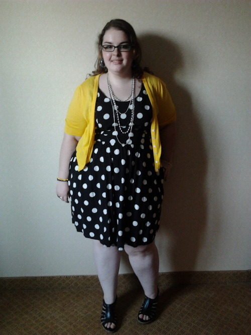 "chubby-bunnies:  Hi! I am Katie and I'm a size US 20. I'm also a super short 5'2"" tall. :) I have recently come to the conclusion that I am GORGEOUS woman. It's taken me a long time, but I got here. And, ALL OF YOU are gorgeous, too! Ignore the awkward smile on my face. I am totally not used to taking pictures like this. BUT! This was my outfit for my cousin's wedding, which was at the Mystic Seaport. Which was gorgeous. Dress - 2x from Forever21 Sweater - XXL from Old Navy Shoes - 8 1/2 Indigo by Clarks Necklace - Claires Submitted by: awkwardinnocent"