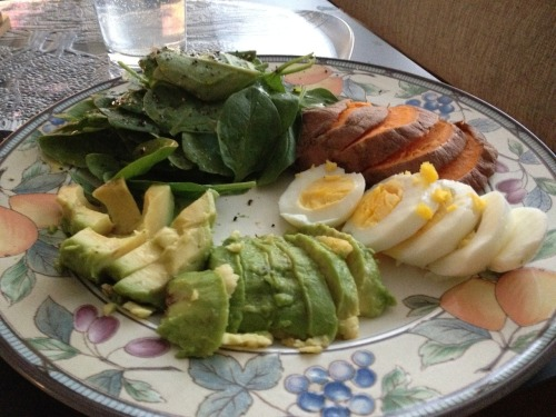 yourhealthista:  No time to cook? It's all about the snack plate! This was my dinner tonight. On the plate: Almost a whole avocado Spinach with a quick dressing of olive oil, salt, and pepper (I hate making salad!) Half a huge sweet potato Hard boiled egg. Zero cooking required. I prepared hard-boiled eggs a few days ago (ALWAYS have those on hand!) and I did bake the potato, but you could also throw it in the microwave. Dinner in five minutes — doesn't get much easier than that! Now off to eat a Coconut-Cherry Popsicle.