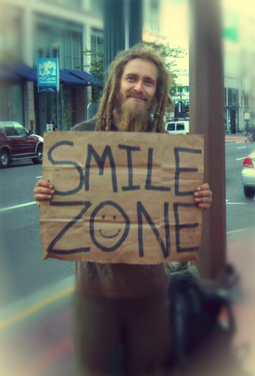 "flowerchild-freeandwild:   ""Dont give me money just your smiles"" Homeless guy I met in portland  (via imgTumble)"