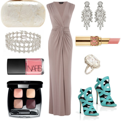 Evening Wedding Attire by prettypetals featuring cross jewelry