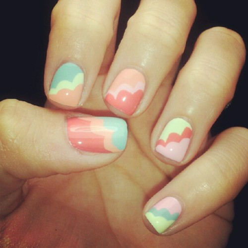 A cloudy #sneakpeek of some #nailart feat. All five barielle summer cremes #nailporn #nailpolish #barielle #letthemhavepolish #colorful (Taken with Instagram)