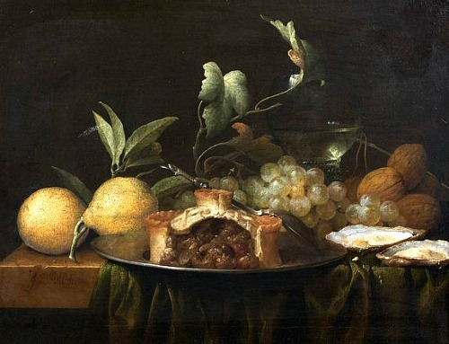 Joris van Son Still Life with Pie and Oysters 17th century