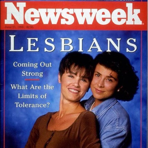 My favorite Newsweek cover of all time. (And not just because of that VELVET BODYSUIT.) #newsweek #lesbians #retro #1990s cc @thedailybeast  (Taken with Instagram at 1993 (Yes! Really!))