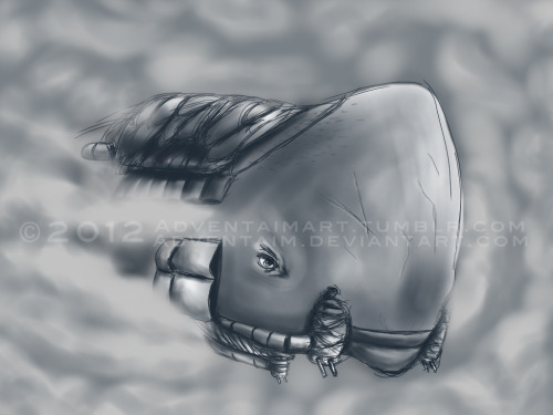 Something drawn on a rainy day…The Leviathan! Emerging from the clouds to rescue a stranded Deryn Sharp (not pictured XD).