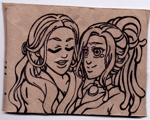 Katara and Kya - heirloom  My headcanon - and that Kya liked to experiment with hair beads.