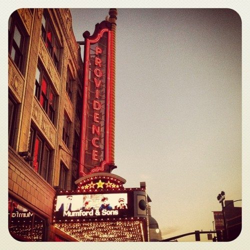 Mumford & Sons on the marquee at the Providence Performing Arts Center in Providence, Rhode Island on August 6, 2012. Photo courtesy of bethany529 on twitter.