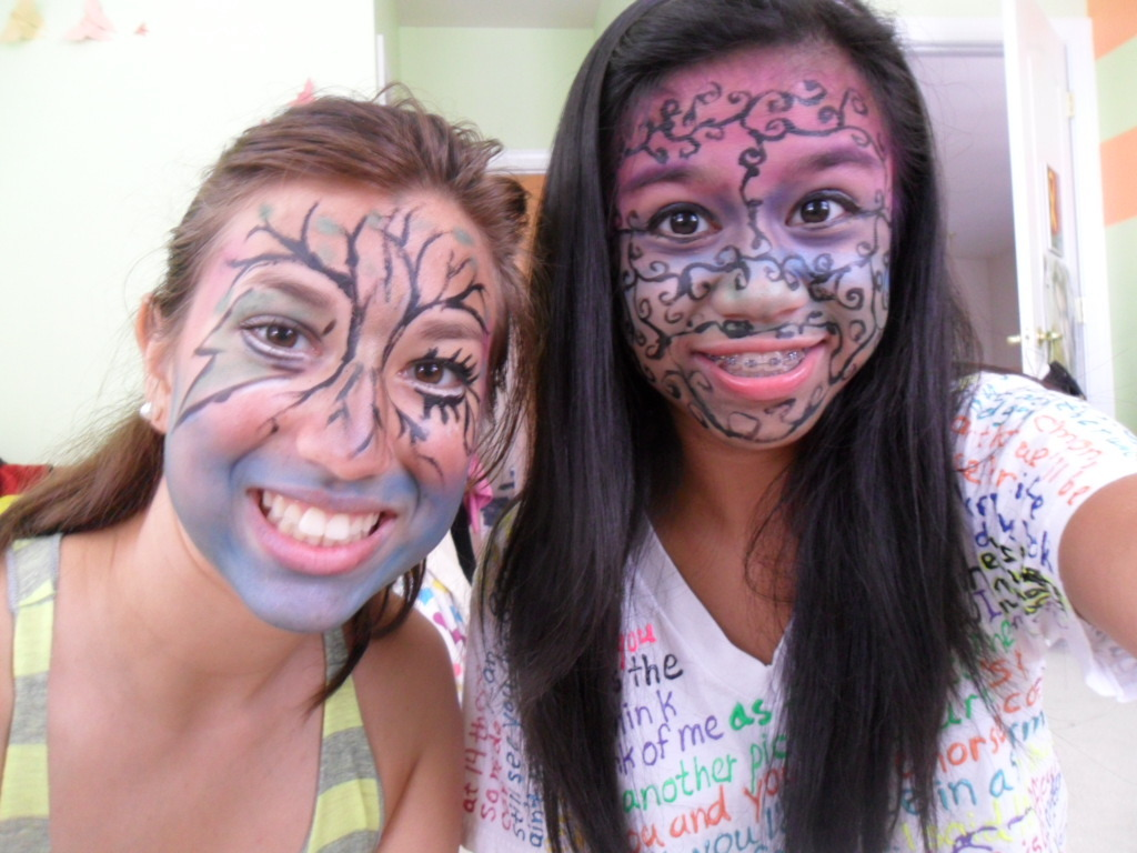 it started as doing each other's makeup but escalated to a face paint contest. lol