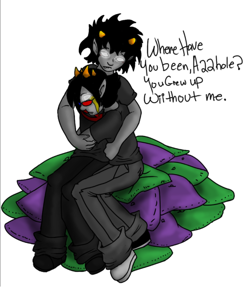 A piece for my game Re:Surrection, An older Karkat with Prospit Sollux, meeting again in dream.